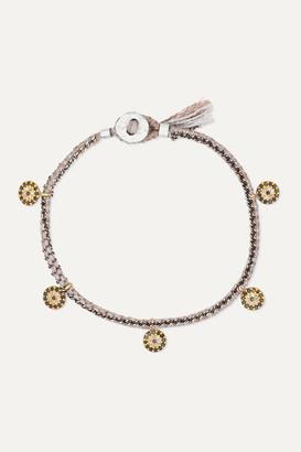 Brooke Gregson Coin 14-karat Gold, Sterling Silver, Silk And Diamond Bracelet