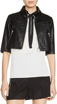 Maje Brittany Cropped Leather Jacket