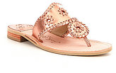 Jack Rogers Hamptons Metallic Leather Whipstich Slip-On Sandals