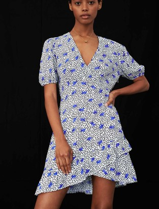 Maje Printed crepe dress with ruffles