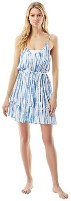 MICHAEL Michael Kors Tie-Dye Daydream Cover-Up Dress with Tassel Belt (Crew Blue) Women's Swimwear