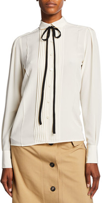 Victoria Beckham Contrast Ties Pleated Front Silk Shirt