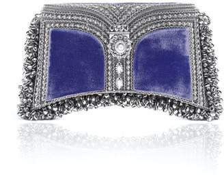 Zeenat Pearl Clutch Velvet Emperor Galaxy Blue