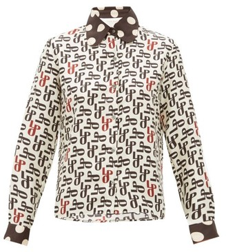 La Prestic Ouiston Monogram-print Silk-faille Blouse - Cream Multi