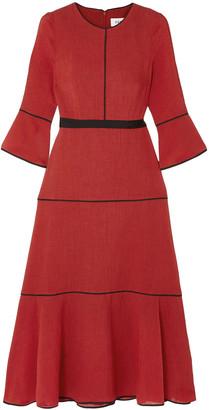 Cefinn Grosgrain-trimmed Voile Midi Dress