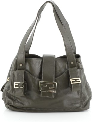 Fendi Compartment Shoulder Bag Leather Medium