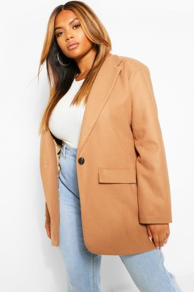 boohoo Plus Single Breasted Wool Look Coat