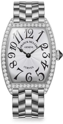 Franck Muller Cintree Curvex 35MM Stainless Steel & Diamond Bracelet Watch