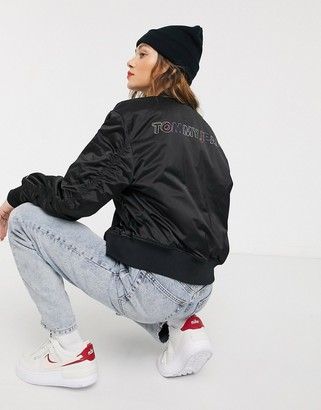 Tommy Jeans bomber jacket with neon back logo-Black