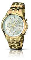 Accurist Men's Quartz Watch with Silver Dial Chronograph Display and Gold Stainless Steel Plated Bracelet MB933S.01