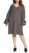 Glamorous Plus Size Women's Tie Bell Sleeve Sweater Dress