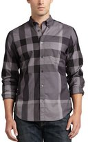 Burberry Fred Large-Check Sport Shirt, Charcoal