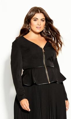 City Chic Sweet Plunge Jacket - black