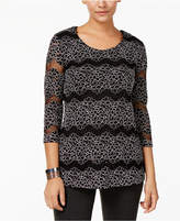 JM Collection Petite Striped Lace Top, Created for Macy's
