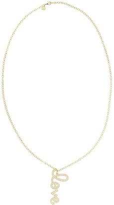 Sydney Evan 14kt yellow gold and diamond XL Vertical LOVE Script necklace