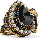 Alexander McQueen Gold-plated, Faux Pearl And Swarovski Crystal Ring