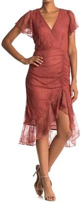 Lush Ruffle High/Low Lace Midi Dress