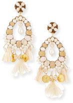 Ranjana Khan Beaded Charm Clip-On Earrings, Beige