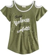 Self Esteem Girls 7-16 Marled Cold Shoulder Top