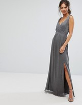 Little Mistress Metallic Jersey Maxi Dress With Wrap Detail