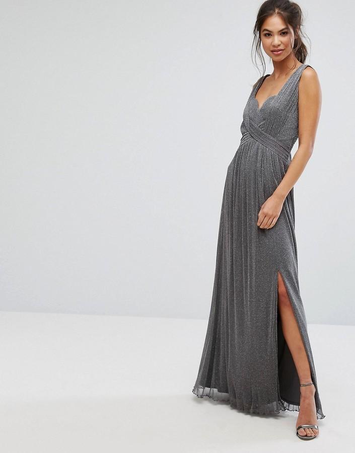 Little Mistress Metallic Jersey Maxi Dress With Wrap Detail
