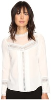 Rebecca Taylor Long Sleeve Silk and Lace Top