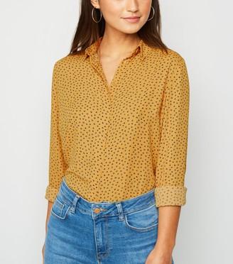 New Look Petite Heart Print Long Sleeve Shirt