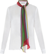 Mary Katrantzou Folia rainbow scarf silk-chiffon blouse
