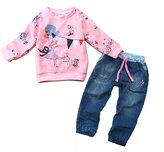 EGELEXY Baby Kids Girls Cute Pattern Sweatshirt and Jeans 2-piece Outfit 12-24Months