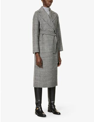 S Max Mara Ladies Grey and White Check Fiorito Check-Print Wool Coat, Size: 2