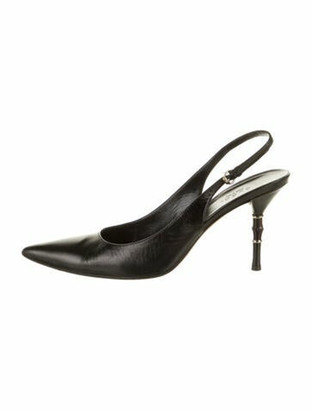 Gucci Leather Slingback Pumps Black