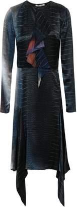 Roberto Cavalli Printed Silk-chiffon And Satin Dress
