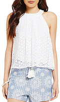 Blu Pepper Eyelet-Embroidered High-Neck Tank Top