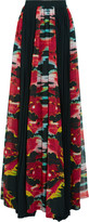 Just Cavalli Pleated printed georgette maxi skirt