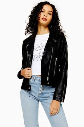 Topshop Womens Black Faux Leather Biker Jacket - Black