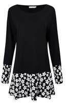 Buckdirect Worldwide Ltd. Elegant Women Floral Printing Patchwork O Neck Long Sleeve Knitting Dress