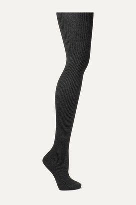 Loro Piana Ribbed Stretch Cashmere And Silk-blend Tights - Charcoal