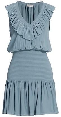Ramy Brook Ellery Ruffled V-Neck Smocked Mini Dress