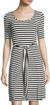 Neiman Marcus Strappy-Back Self-Tie Striped Dress, Black/White