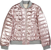 Moncler Metallic Quilted Bomber Jacket, Size 8-14