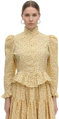 Batsheva Grace Printed Cotton Poplin Blouse