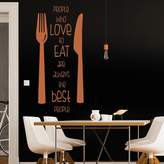 IconWallStickers People Who Love To Eat Knife & Fork Quote Wall Stickers Kitchen Décor Art Decals available in 5 Sizes and 25 Colours Small Black