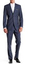 Ike Behar Charcoal Plaid Two Button Notch Lapel Wool Suit