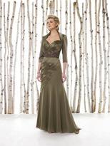 Mon Cheri Cameron Blake - Beaded FLoral Ruched Long Dress 211600P