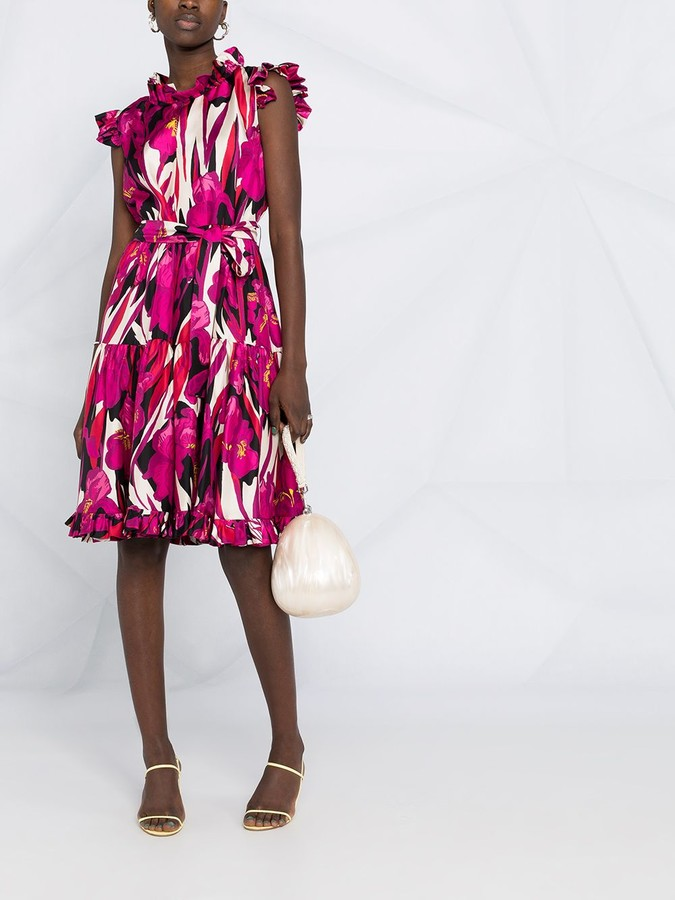 Thumbnail for your product : La DoubleJ Ruffled Floral-Print Silk Dress