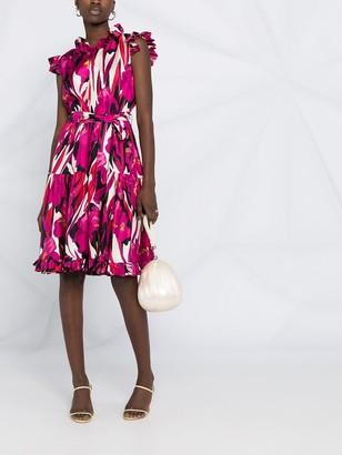 La DoubleJ Ruffled Floral-Print Silk Dress