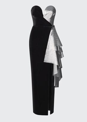 Rasario Velvet Sweetheart Strapless Ruffle Gown