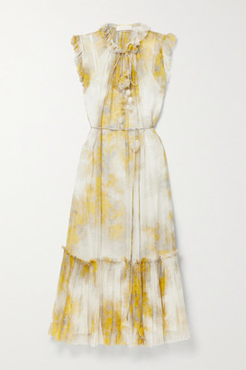 Zimmermann Wild Botanica Belted Ruffled Floral-print Silk-crepon Midi Dress - Yellow