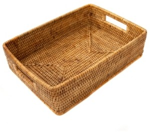Artifacts Trading Company Rattan Rectangular Basket with Cutout Handles