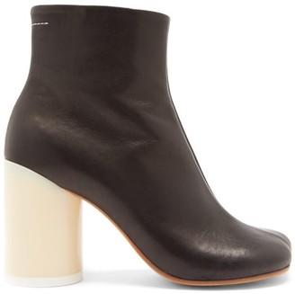 MM6 MAISON MARGIELA Block-heel Leather Ankle Boots - Black